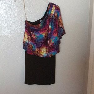 Small off shoulder multi color dress, used